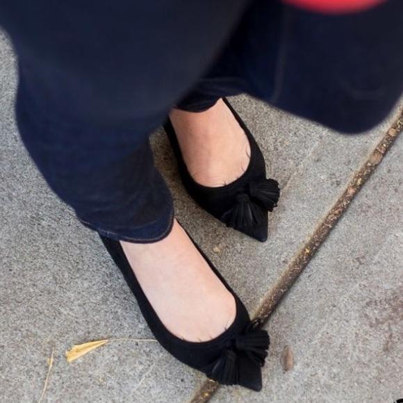 448e0ad2a J.CREW NWT Black Lottie Tassel Flats SUEDE Size 7